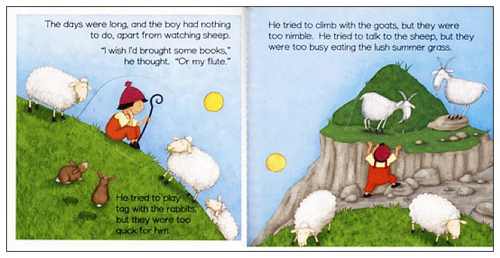 內頁放大:經典童話(翻翻書+CD):THE BOY WHO CRIED WOLF(放羊的孩子)