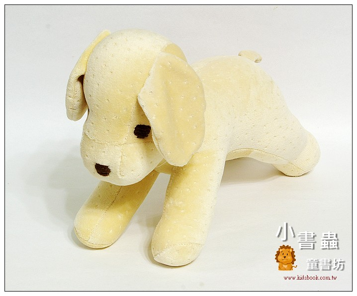 內頁放大:手工綿柔音樂布偶:小狗─粉鵝黃 (舒眠布)