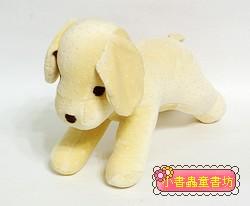 手工綿柔音樂布偶:小狗─粉鵝黃 (舒眠布)