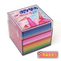 千羽鶴單色紙20色調1000枚(7.5cm) 附透明收納盒