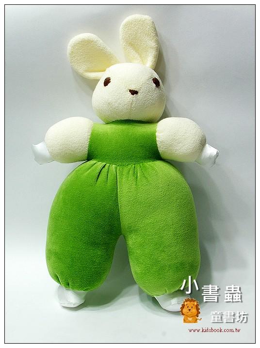 內頁放大:手工綿柔音樂布偶:淡粉黃抹茶綠背心兔 (台灣製造)