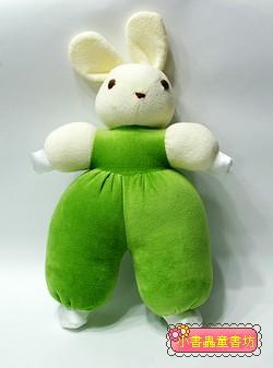 手工綿柔音樂布偶:淡粉黃抹茶綠背心兔 (台灣製造)現貨:1