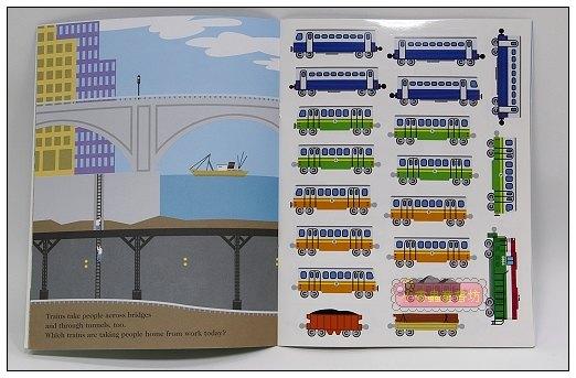 內頁放大:進口貼紙遊戲書-TRAINS