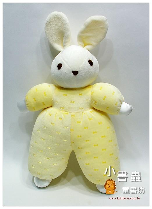 內頁放大:手工綿柔音樂布偶:兔子(黃)(粉黃蝴蝶結) (台灣製造)現貨數量:2