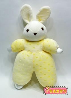 手工綿柔音樂布偶:兔子(黃)(粉黃蝴蝶結) (台灣製造)