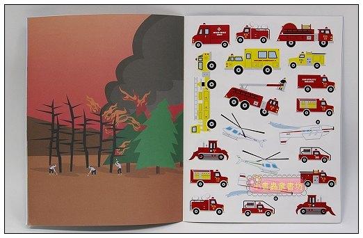 內頁放大:進口貼紙遊戲書-FIRE TRUCKS