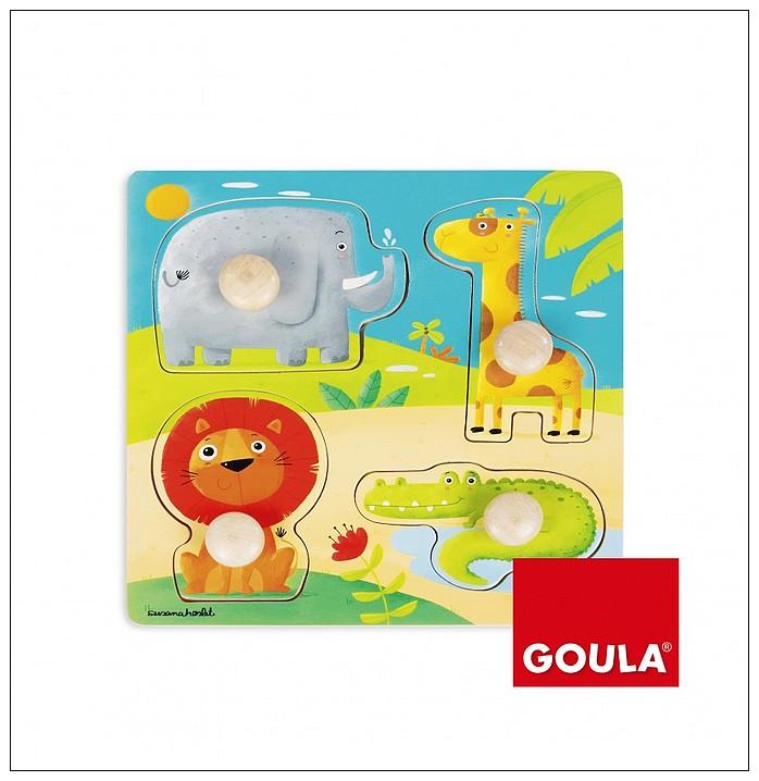 內頁放大:西班牙寶寶握鈕拼圖─野生動物(單片)