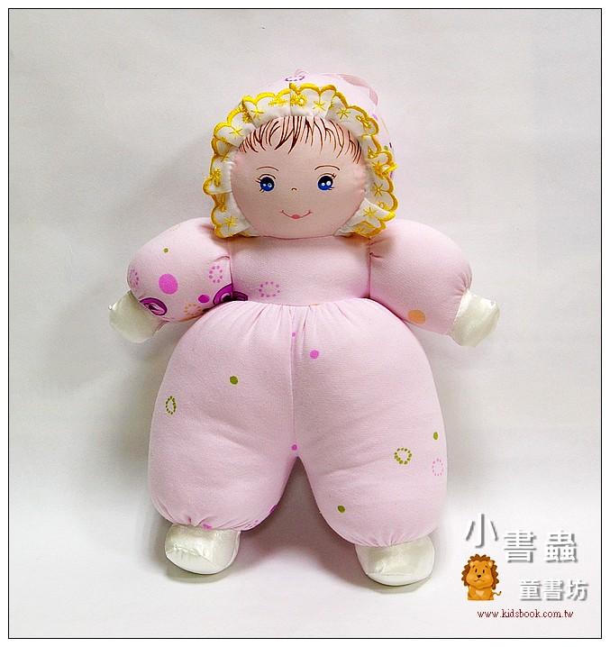 內頁放大:手工綿柔音樂布偶:貝比娃娃─粉紅花布(台灣製造)