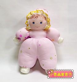 手工綿柔音樂布偶:貝比娃娃─粉紅花布(台灣製造)