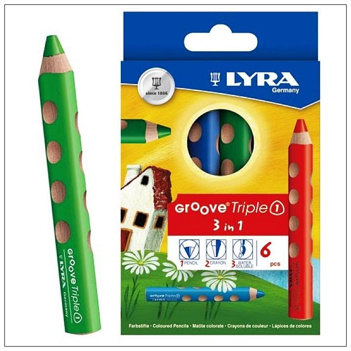 內頁放大:德國LYRA─胖胖三角洞洞筆(蠟筆、水彩、色鉛3合1) (6色)(79折)