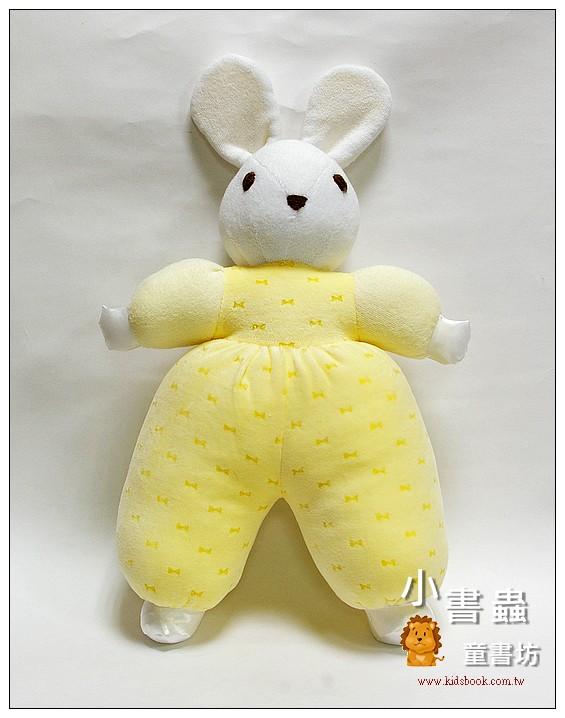 內頁放大:手工綿柔音樂布偶:兔子 (白) (粉黃蝴蝶結) (台灣製造)