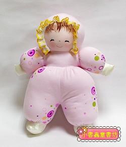 手工綿柔音樂布偶:貝比娃娃(瞇瞇眼)─粉紅花布(台灣製造)