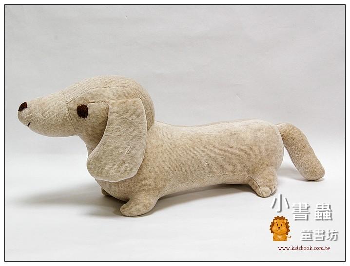 內頁放大:手工綿柔音樂布偶:臘腸狗(小)─褐色斑紋 (台灣製造)