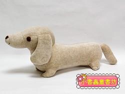 手工綿柔音樂布偶:臘腸狗(小)─褐色斑紋 (台灣製造)