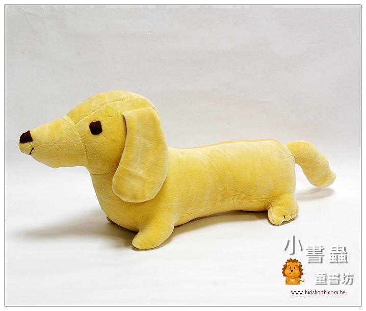 內頁放大:手工綿柔音樂布偶:臘腸狗(小)─奶油黃 (台灣製造)