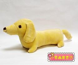 手工綿柔音樂布偶:臘腸狗(小)─奶油黃 (台灣製造)