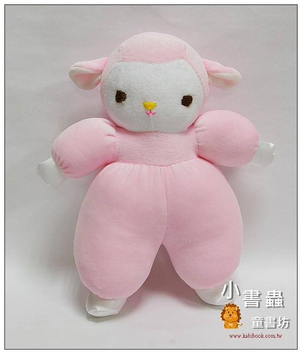 內頁放大:手工綿柔音樂布偶:咩咩羊 (粉紅)(台灣製造)
