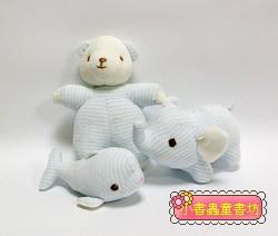 手工綿柔音樂布偶:迷你動物3合1(水藍條紋) (台灣製造)現貨:1