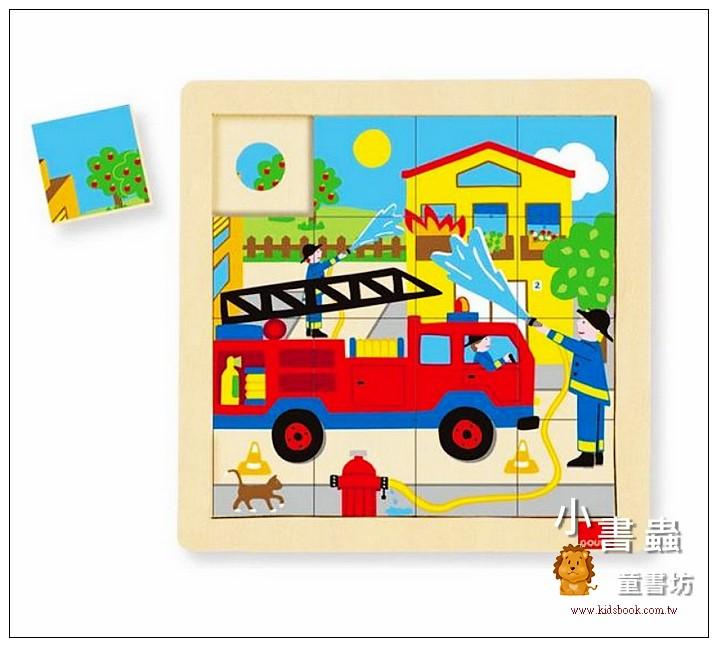 內頁放大:西班牙寶寶拼圖–木製消防車配對拼圖 (16片)