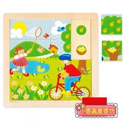 西班牙寶寶拼圖–木製春天配對拼圖 (16片)