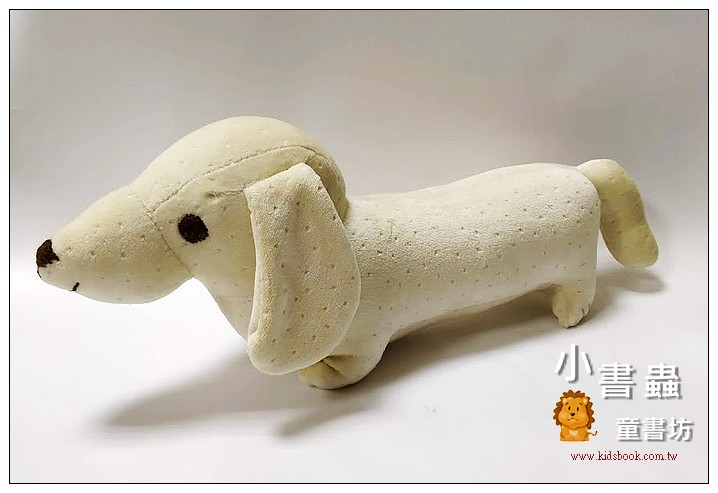 內頁放大:手工綿柔音樂布偶:臘腸狗(小)粉鵝黃 (舒眠布) (台灣製造)