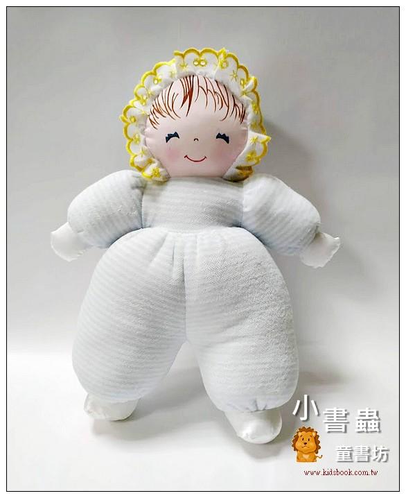 內頁放大:手工綿柔音樂布偶:貝比娃娃(瞇瞇眼)─淡藍條紋(台灣製造)