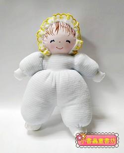 手工綿柔音樂布偶:貝比娃娃(瞇瞇眼)─淡藍條紋(台灣製造)