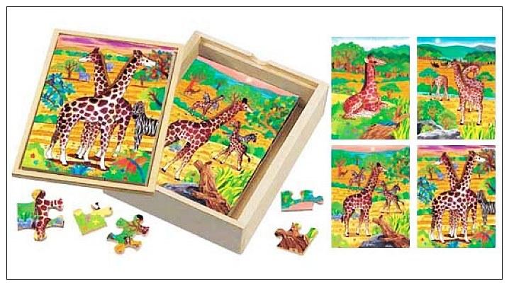 內頁放大:長頸鹿成長階梯拼圖(4.6.8.12片木製)(8折)