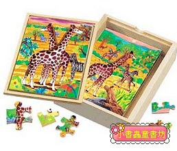 長頸鹿成長階梯拼圖(4.6.8.12片木製)(8折)