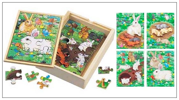 內頁放大:兔子成長階梯拼圖(4.6.8.12片木製)(8折)