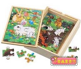 兔子成長階梯拼圖(4.6.8.12片木製)(8折)