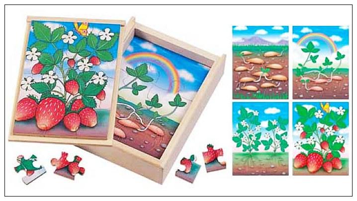 內頁放大:草莓成長階梯拼圖(4.6.8.12片木製)(8折)