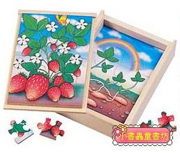 草莓成長階梯拼圖(4.6.8.12片木製)(8折)