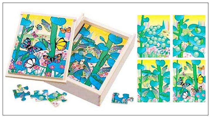 內頁放大:蝴蝶成長階梯拼圖(4.6.8.12片木製)(8折)
