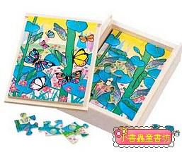 蝴蝶成長階梯拼圖(4.6.8.12片木製)(8折)