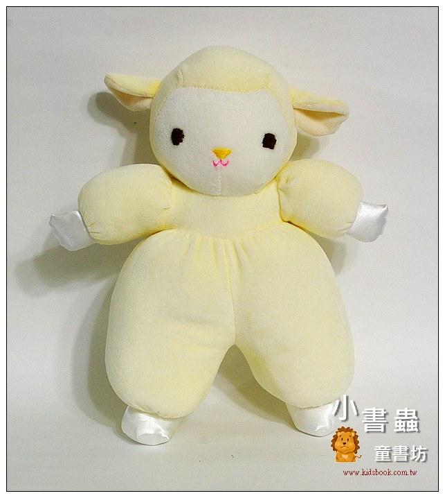 內頁放大:手工綿柔音樂布偶:粉黃羊寶寶 (台灣製造)