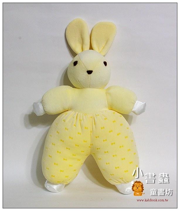 內頁放大:手工綿柔音樂布偶:兔子(粉黃+蝴蝶結) (台灣製造)