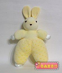手工綿柔音樂布偶:兔子(粉黃+蝴蝶結) (台灣製造)