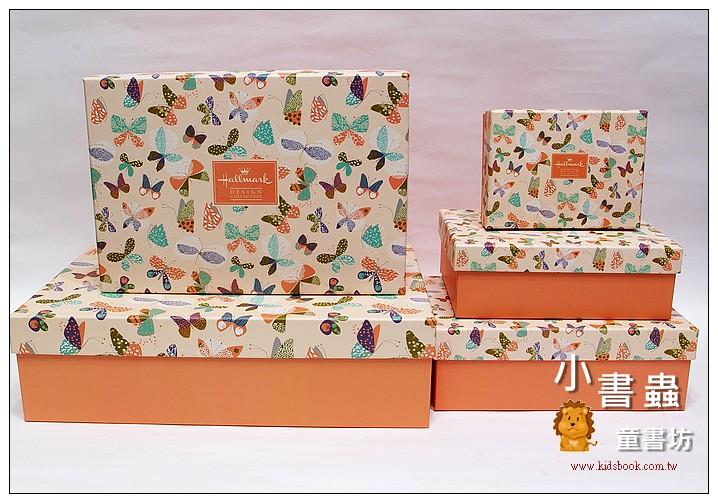 內頁放大:Hallmark圖紋風長型禮物盒(蝴蝶)XL-XS(5件組)(75折)