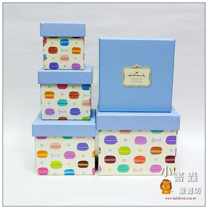 內頁放大:Hallmark圖紋風方型加高禮物盒(馬卡龍)XL-XS(5件組)(75折)