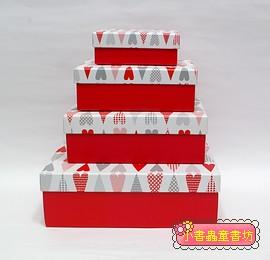 Hallmark圖紋風長型禮物盒(愛心)L-XS(4件組)(75折)