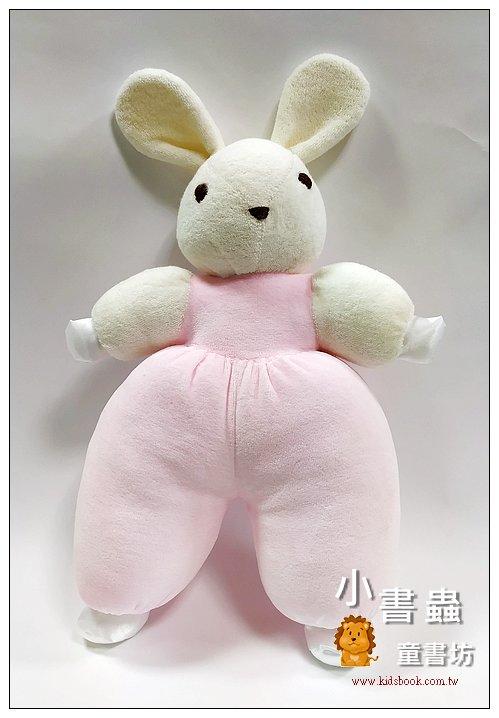 內頁放大:手工綿柔音樂布偶:寶貝兔 (白+粉紅) (台灣製造)