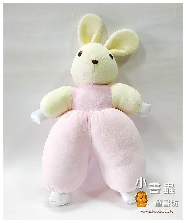 內頁放大:手工綿柔音樂布偶:兔子 (粉黃頭+手) (粉紅) (台灣製造)