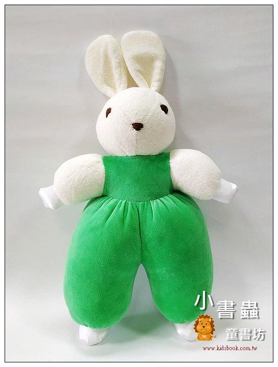 內頁放大:手工綿柔音樂布偶:寶貝兔 (蘋果綠) (台灣製造)