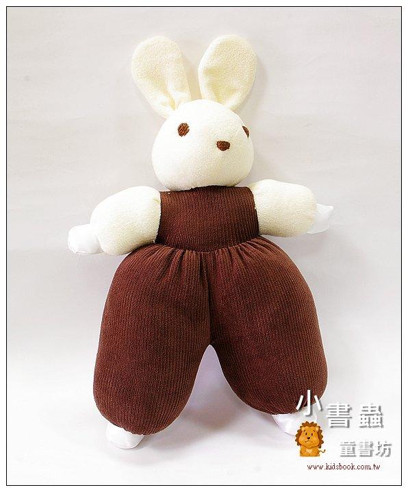 內頁放大:手工綿柔音樂布偶:寶貝兔 (咖啡) (台灣製造)