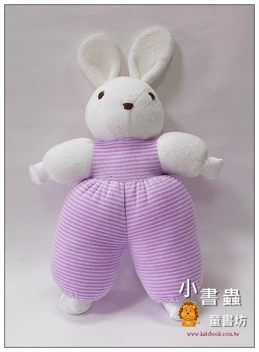 內頁放大:手工綿柔音樂布偶:寶貝兔(粉紫條紋) (台灣製造)