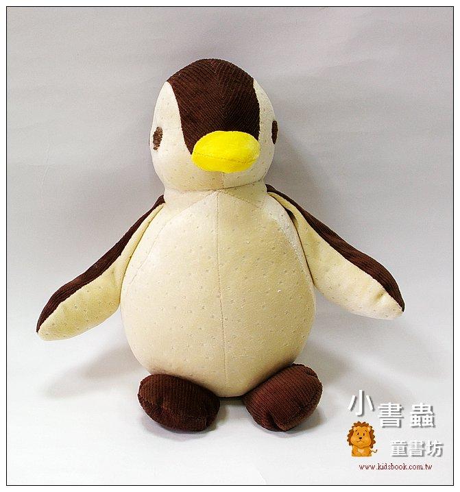 內頁放大:手工綿柔音樂布偶:胖胖企鵝(咖啡)(黃嘴巴) (台灣製造)