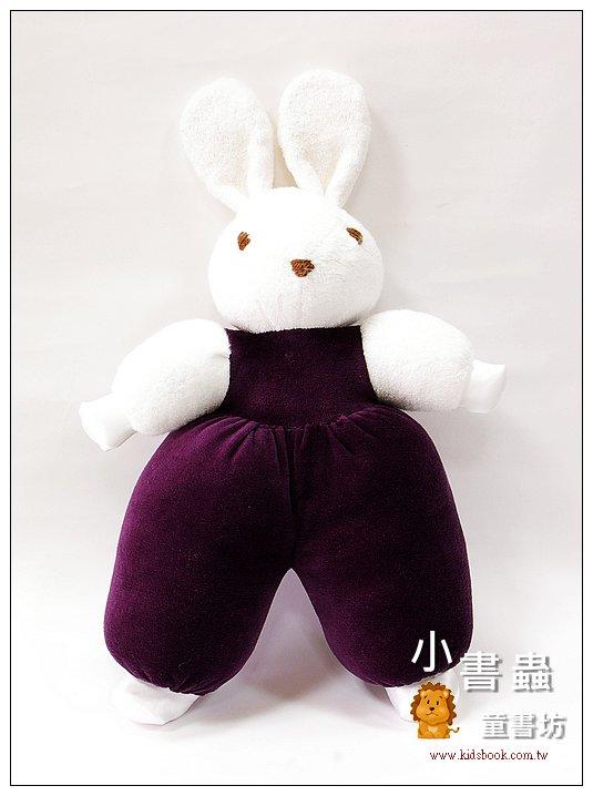 內頁放大:手工綿柔音樂布偶:寶貝兔 (深紫色) (台灣製造))