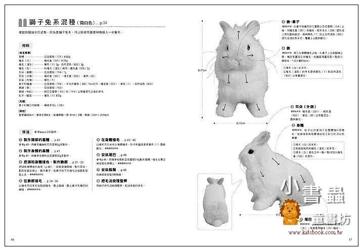 內頁放大:呆萌又可愛! 擬真羊毛氈兔子玩偶: 垂耳兔、雷克斯兔、獅子兔、長毛兔等16款