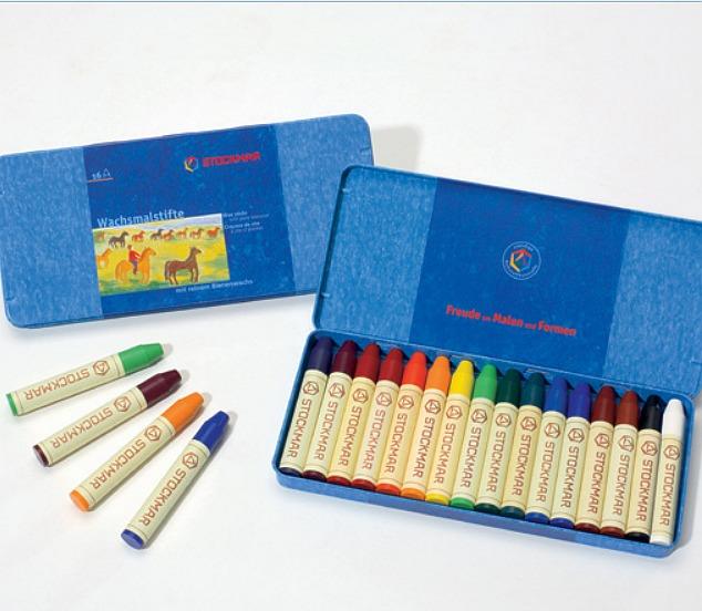 內頁放大:德國STOCKMAR:史都曼透明蜜蠟筆─鐵盒16色